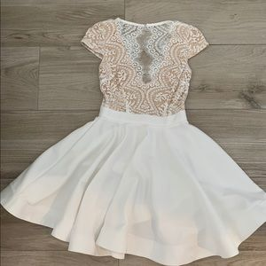 Dresses & Skirts - White Lace Top Open Back Dress